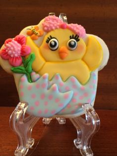 close up of Spring/ Easter chick cookie
