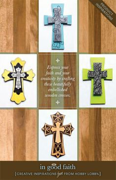 Express your faith and your creativity by crafting these beautifully embellished wooden crosses.