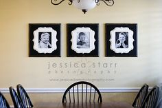 Beautiful example using Organic Bloom frames! AHP is a proud vendor of these beautiful, solid wood custom frames. Painted Frames, Hand Painted, Wall Ideas, Decor Ideas, Organic Bloom Frames, Wall Galleries, Bloom Where Youre Planted, White Frames, Family Wall