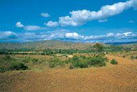 Como resultado del proceso histórico de ocupación humana y de factores climáticos locales, el altiplano de Villa de Leyva presenta un paisaje árido y erosionado.