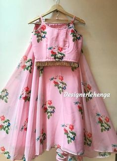 Custom made as per your size.Fabric details-Top and bottom- georgette with floral print Girls Frock Design, Long Dress Design, Kids Frocks Design, Stylish Dress Designs, Stylish Dresses, Kids Lehanga Design, Indian Gowns Dresses, Indian Fashion Dresses, Dress Indian Style