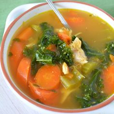 Chicken Kale Turmeric Soup :: Place the chicken breasts in a saucepan and cover with water. Bring to a gentle simmer and poach them until they are cooked through. This takes around 12 minutes, depending on how thick the chicken is. Once cooked, remove from the water and allow it to cool a little. // Full recipe @ http://naturalfertilitybreakthrough.com/food-nutrition/meal-plans-recipes/chicken-kale-turmeric-soup/