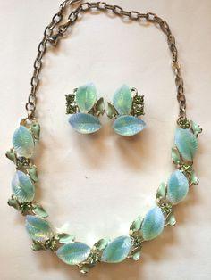 Vintage 1950's Blue Green Themoset Rhinestone Leaf Necklace Earring Set  #Unbranded