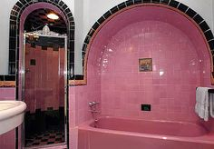 This is a wonderful example of Art deco design at it's best in a Vintage Bath.This on has a marvelous tub area as well as a stylish shower. Details were very important in the art Deco era. Interiores Art Deco, Art Deco Bathroom, Bathroom Ideas, Pink Tiles, Tudor Style Homes, Vintage Bathrooms, Pink Bathrooms, 1930s Bathroom, Dream Bathrooms
