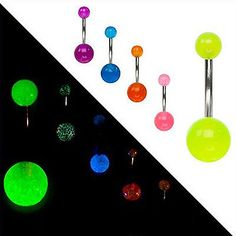 CHIC 7Pcs Glow In The Dark Belly Button Navel Bar Rings Body Piercing Jewelry