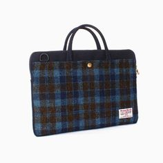Sweetch slim briefcase navy x Harris tweed