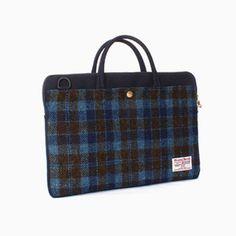 Sweetch slim briefcase navy x Harris tweed