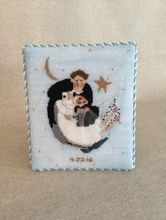 Needlepoint bride and groom dancing ~ Canvas by Whimsy & Grace