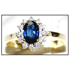 http://rubies.work/0250-ruby-rings/ Unique 18K Yellow Gold Diamond Solitaire Blue by BKGjewels on Etsy