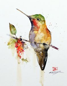 HUMMINGBIRD on BRANCH Watercolor Bird Print by Dean Crouser by DeanCrouserArt on Etsy Watercolor Hummingbird, Watercolor Trees, Watercolor Animals, Watercolor Landscape, Watercolor Portraits, Watercolor Background, Abstract Watercolor, Simple Watercolor, Tattoo Watercolor