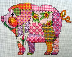 Patchwork Pig Cross Stitch Pattern. Instant PDF download
