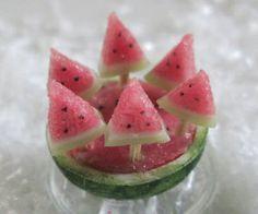 miniature watermelon popsicles