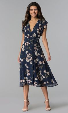 Navy Floral-Print Wedding Guest Knee-Length Dress - Floral-Print Wedding Guest Knee-Length Dress Source by - Blue Wedding Guest Dresses, Cocktail Bridesmaid Dresses, Wedding Guest Fashion, Bridesmaid Outfit, Skirt Fashion, Fashion Dresses, Casual Dresses, Cute Dresses, Blue Party Dress