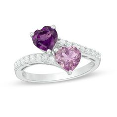 Zales 8.0mm Heart-Shaped Rose de France Amethyst and Lab-Created White Sapphire Ring in Sterling Silver with Rose Rhodium tcDX0rq