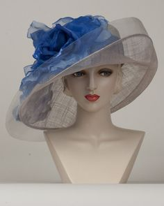9411VGSP Virginia, silver grey with cobalt – Louise Green Millinery