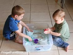 Make your own Moon Sand!  Check this and other great fun and cheap activities for the little ones at  www.frugalfun4boys.com/