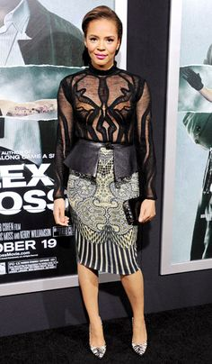 Carmen Ejogo dazzled wearing an Etro outfit plus Brian Atwood shoes and carrying a Judith Leiber bag at the Oct. 15 Alex Cross premiere in L.A.