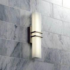 Possini Euro Exeter Nickel LED Bathroom Vanity Light - Lamps Plus Led Bathroom Vanity Lights, Bathroom Sconces, Bathroom Light Fixtures, Bathroom Ideas, Bathroom Designs, Bathroom Inspiration, Bathroom Remodeling, Bathroom Organization, Bath Ideas