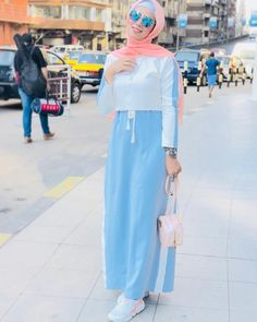 Hijab spring 2018 - just trendy girls abaya в 2019 г. Hijab Chic, Modest Fashion Hijab, Modern Hijab Fashion, Street Hijab Fashion, Abaya Fashion, Fashion Dresses, Muslim Women Fashion, Islamic Fashion, Hijab Styles
