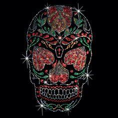 8X12  - TRADITIONAL SUGAR SKULL - RHINESTUDS - dead, ethnic, muertos, rhinestuds, skull, studs, sugar, sugar skull, Material Transfer, Fashion, Skulls