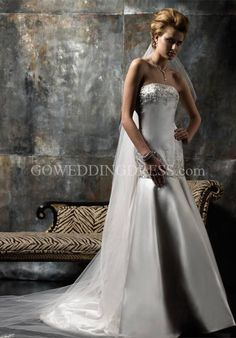 Mermaid Strapless Floor Length Attached Silk Satin Beading Wedding Dress Style 13075