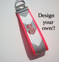 Key FOB / KeyChain / Wristlet   inital monogram on your by Laa766 preppy / fabric / cute / patterns / key chain / keychain / badge / key leash / gifts / under $10 / designer / car / school / key ring