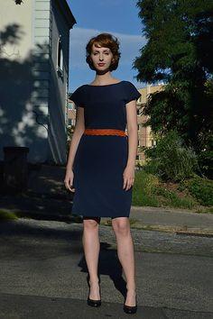 majoranka / Modré šaty s oranžovým detailom