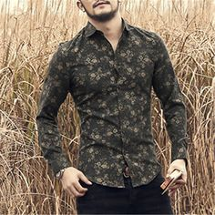 Sweatwater Men Print Classic Long Sleeve Turn Down Button Front Shirts