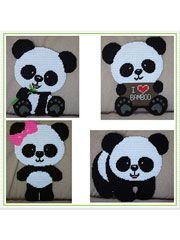 Plastic Canvas - Patterns for Children & Babies - Nursery Decor Patterns - Cute Panda Decor Plastic Canvas Crafts, Plastic Canvas Patterns, Panda Decorations, Crochet Panda, Canvas Designs, Cute Panda, Yarn Crafts, Needlepoint, Baby Gifts