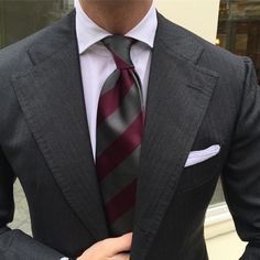 """violamilano: """" Viola Milano classic elegance… """"Classic striped untipped silk - Grey/Wine"""" tie combined with a """"Classic Shoestring Cotton/Linen"""" pocket square…  Worldwide shipping at www.violamilano.com #violamilano #handmade #madeinitaly #luxury..."""