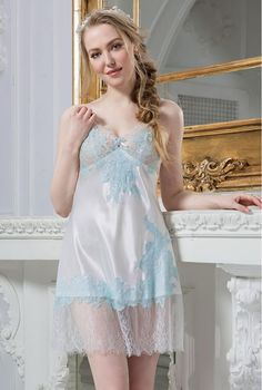 23a5de98e Silk chemise. White and blue lace silk slip. Snow Queen collection. by  MiaDivaLingerie