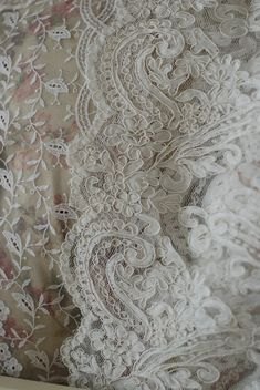 French Alencon Lace also known as 'point d'Alencon' or 'the queen of lace' (orig. France, end of 17th century), often outlined with Cofdonnet and heavily influenced by Venetian techniques