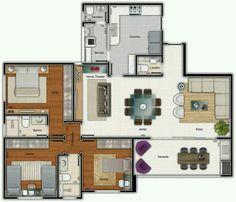 Pinterest: @claudiagabg | Apartamento 3 cuartos 1 estudio abierto despensa terraza