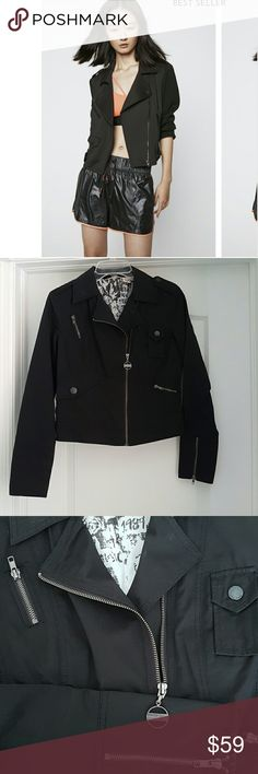 DKNY Jeans black motorcycle jacket Perfect for fall.  Timeless piece in excellent condition.  Offers so many possibilities. DKNY Jackets & Coats Utility Jackets