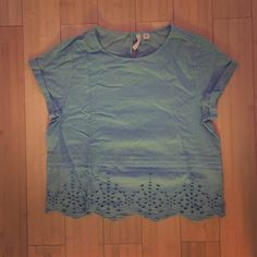 NWOT Frenchi (Nordstrom) top Light cotton turquoise top. It is cut shorter, may be a crop top on some (I am 5'2). Really pretty eyelets cut outs on the bottom. NWOT. Selling because I never wear it. Frenchi Tops Crop Tops