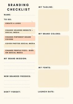 Branding checklist for any business blogger blog. tagline fonts colors launch date brand social media headers covers cover photos board covers pinterest cover.