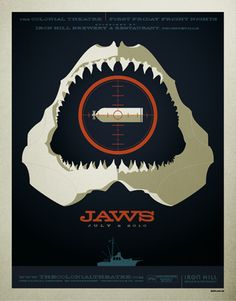 Jaws by Illustrator, Tom Whalen  http://www.buzzfeed.com/mathieus/art-deco-movie-posters-8q4