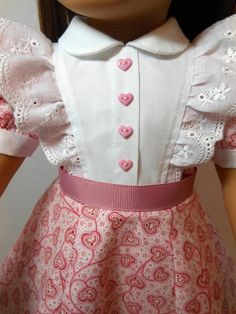 American Girl - border print dress, with headband for Caroline, Regency by dolltimes Tomi Jane Sewing Doll Clothes, American Doll Clothes, Girl Doll Clothes, Doll Clothes Patterns, Clothing Patterns, Girl Dolls, Doll Patterns, American Girl Diy, Valentines Outfits