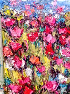"""Spring Memories"" 6x8 original palette knife oil painting by Peggy Ann Thompson  painterschairfineart.com"