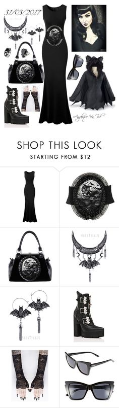 """Bat Gothic Outfit"" by angelique-von-tod ❤ liked on Polyvore featuring Current Mood, Le Specs and West Coast Jewelry"