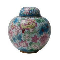 This is a traditional oriental Chinese round container made of thin metal and covered with blue and multi-color enamel color flower pattern. Ceramic Stool, Ceramic Pottery, Antique Pottery, Asian Inspired Decor, Painted Jars, Ginger Jars, Handmade Home Decor, Off Colour, Flower Patterns