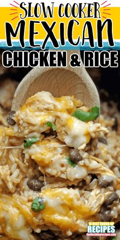 Mexican Chicken And Rice, Slow Cooker Mexican Chicken, Crockpot Mexican Chicken Recipes, Recipes For Shredded Chicken, Chicken And Rice Crockpot, Chicken And Rice Dishes, Chicken Cooker, Recipe Chicken, Chili Recipes