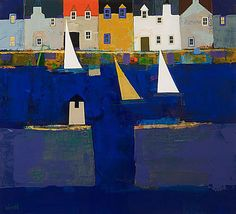 George Birrell City Landscape, Landscape Paintings, Landscapes, William H Johnson, Painted Houses, Abstract Watercolor Art, Fauvism, Water Art, House Painting