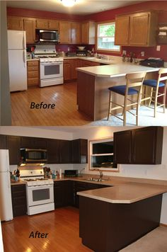 Kitchen cabinet painting before and after-- love the dark colors- vs boring neutral pine--yawn