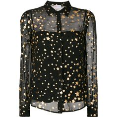 Red Valentino layered sheer gold foil star shirt ($695) ❤ liked on Polyvore featuring tops, shirts, black, stars, gold foil shirt, shirt top, red valentino, double layer top and star print shirt