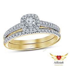 14k Yellow Gold Plated 925 Silver Round Cut Diamond Women's Bridal Ring Set 5 6  #SolitaireWithAccentsEngagementRing