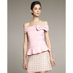 RED Valentino Shoulder-Bow Top ($210) ❤ liked on Polyvore featuring tops, shirts, off the shoulder tops, ruffle top, off the shoulder frill top, off the shoulder ruffle top and ruffle shirt