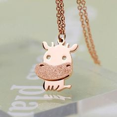 Little Cattle Animal Frosted Gold Necklace