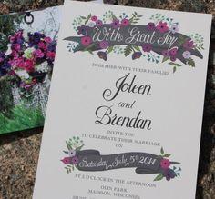 Vintage purple toned chalkboard banner wedding invitation by #BeholdDesignz