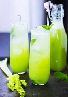 Sweetened with lemon juice + mint, this Mint + Celery Soda is a healthy alternative to pop.
